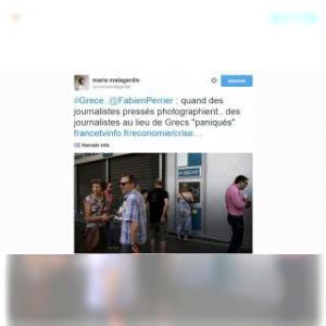 Quand les journalistes s'entre-photographient aux distributeurs grecs